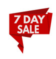 7 day sale red origami speech bubble