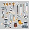 a set of stickers pictures of garden tools vector image