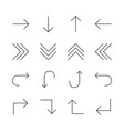 arrows set icon line next back up down vector image vector image