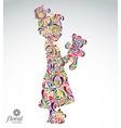 Art of a tiny girl holding a teddy bear Cute teena vector image vector image