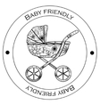 Baby friendly black-and-white sticker vector image