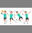 badminton male player playing in different vector image vector image