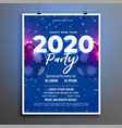 blue 2020 party celebration new year flyer design vector image