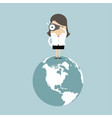 businesswoman on the world and look at binoculars vector image vector image