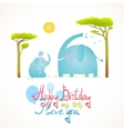 Cartoon African Elephants Bathing Happy Birthday vector image