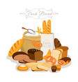 cartoon bread flour and pastries french baguette vector image vector image