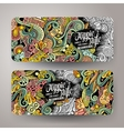 Cartoon doodles hippie banners vector image