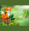 cartoon happy fox sitting on tree stump with green vector image vector image