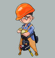 cartoon man in helmet and working clothes vector image vector image