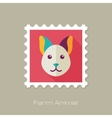 Cat flat stamp Animal head vector image vector image