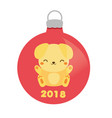 christmas bauble with cute yellow dog 2018 new vector image vector image