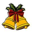 christmas bells pop art vector image vector image