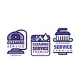 cleaning service logo template with drop and brush vector image