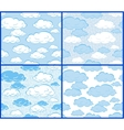 Clouds - 4 patterns vector image
