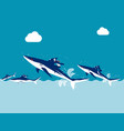 competition business team ride shark concept vector image vector image