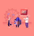 crowd people with traditional britain flags vector image vector image