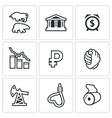 Currency devaluation icons set vector image vector image