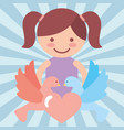 cute girl pigeons heart love donate charity vector image