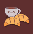 delicious croissant and coffee kawaii vector image