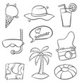 doodle of summer object collection vector image vector image