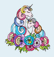 doodle unicorn mother and child vector image vector image