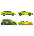 eco cars electric vehicles icons green transport vector image vector image