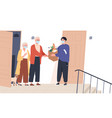 elderly couple in face masks receiving a bag of vector image