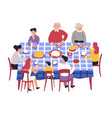 family at table festive dinner parents and vector image vector image