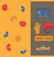 flat design elements of rock climber vector image vector image