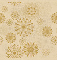 golden christmas snow flakes seamless pattern vector image