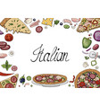 hand drawn doodle background with italian food vector image vector image