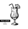 Hand drawn sketch cocktail pina colada vintage vector image