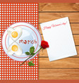 happy womens day greeting card with number 8 vector image vector image