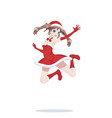 joyful anime manga girl as santa claus in a jump vector image vector image