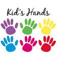 kids handprints in six colors vector image vector image