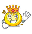 king cd player mascot cartoon vector image vector image