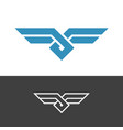 knot style logo with wings double color ropes vector image vector image