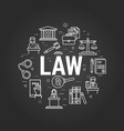 law letters on black vector image