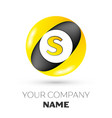 letter s logo symbol in the colorful circle vector image
