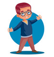 little boy in glasses enthusiastically tells vector image vector image