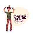 Man in birthday hat with party poppers invitation vector image