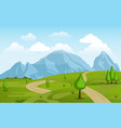 mountains hills green grass nature landscape sky vector image
