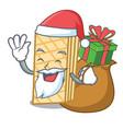 santa with gift waffle mascot cartoon style vector image vector image