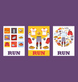set banners with sport clothes for running vector image