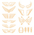 set linear icons - wings vector image
