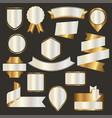 set nacre emblems badges and ribbons vector image