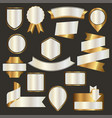 set of nacre emblems badges and ribbons vector image