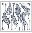 Set tribal feathers arrow zentangle vector image vector image