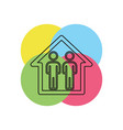 silhouette family icon and house vector image vector image