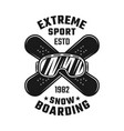 snowboarding emblem with ski glasses and boards vector image vector image